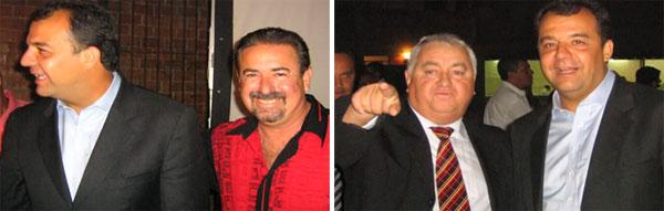 Cabral confraterniza com os irmãos Natalino e Jerominho, em festa da milícia Liga da Justiça, que eles comandam na Zona Oeste