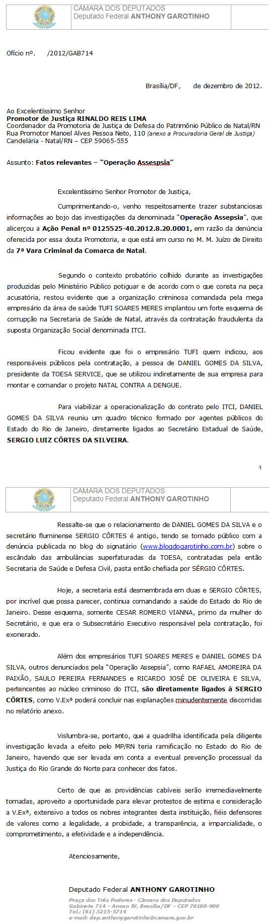 Documento enviado por Garotinho ao MP do Rio Grande do Norte